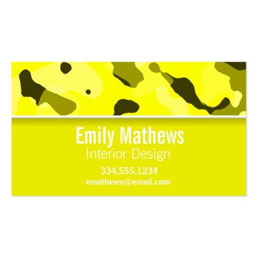 Camo amarelo elétrico; Personalizado Cartões De Visita