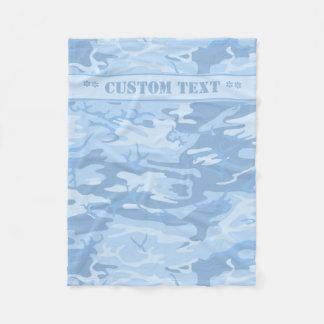 Camo azul com texto feito sob encomenda cobertor de velo