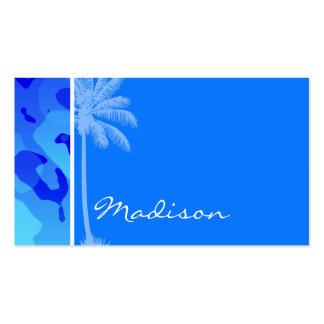 Camo azul elétrico; Palma do verão Cartão De Visita