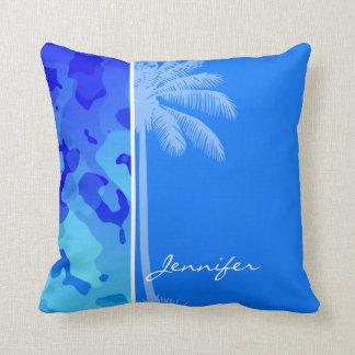 Camo azul elétrico; Palma do verão Travesseiros De Decoração