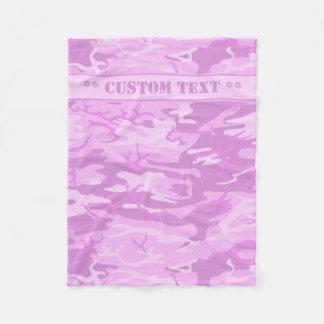 Camo cor-de-rosa com texto feito sob encomenda cobertor de velo