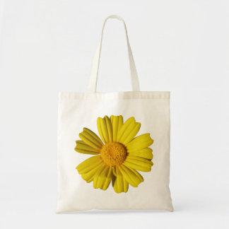 Camomila amarela ensolarada sacola tote budget