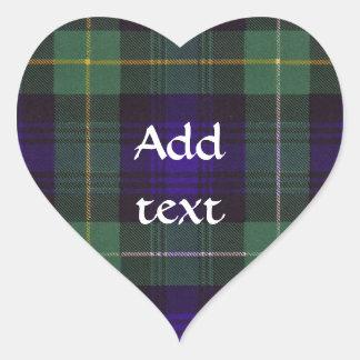 Campbell do Tartan do Scottish de Argyll Adesivo Em Forma De Coração