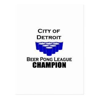 Campeão de Pong da cerveja de Detroit Cartão Postal