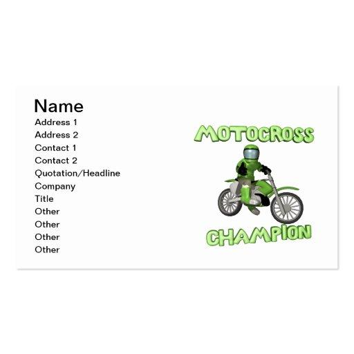 Campeão do motocross cartoes de visitas