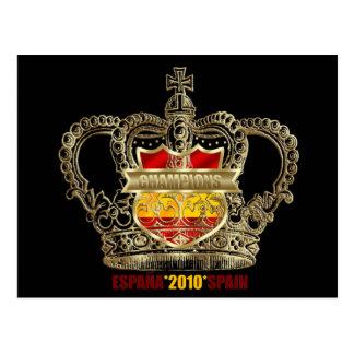 Campeões 2010 espanhóis dos reis mundo do futebol cartão postal