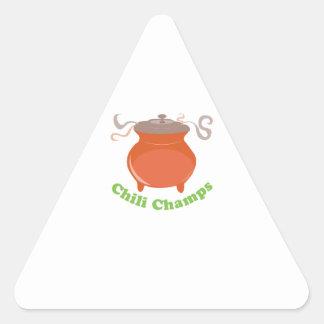 Campeões do pimentão adesivos em forma de triângulo