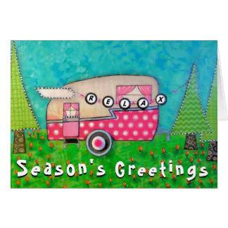 Campista retro do rosa do cartão de Natal do
