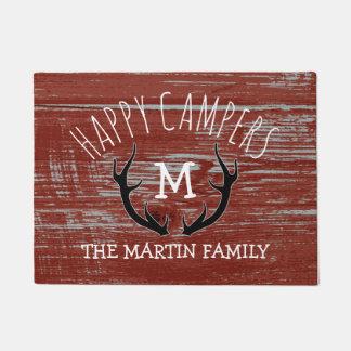 Campistas felizes rústicos de nome de família dos tapete