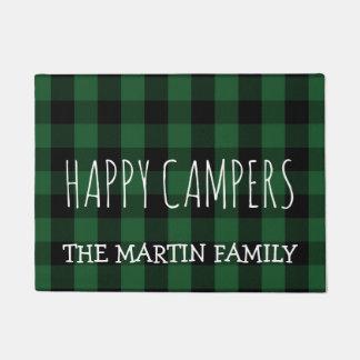 Campistas felizes verdes rústicos da xadrez | do tapete