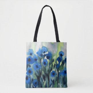 """Campo azul aguarela abstrata das flores"" Bolsa Tote"