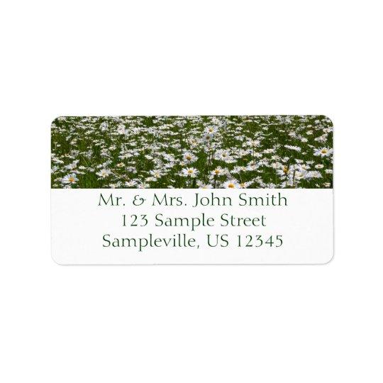 Campo da foto da natureza das margaridas etiqueta de endereço