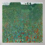 Campo da papoila por Gustavo Klimt, flor floral do Posteres