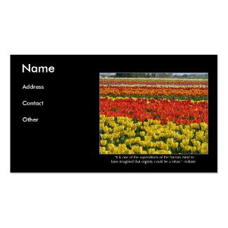 Campo da tulipa e citações de Voltaire Cartoes De Visita