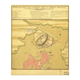 Campo de batalha da batalha do mapa 1775 do monte  impressão em tela