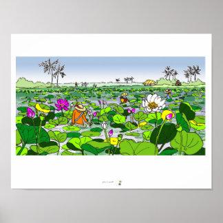 Campo de Lotus e poster colorido das máquinas