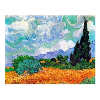 Campo de trigo de Van Gogh com ciprestes (F615) Cartão Postal