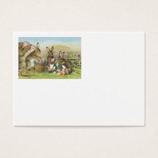 Campo pintado colorido coelhinho da Páscoa do ovo Cartão De Visitas