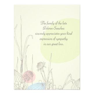 Campos Pastel - obrigado do falecimento você Notec Convites Personalizados