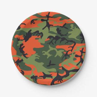 Camuflagem alaranjada verde da floresta. Camo seu Prato De Papel