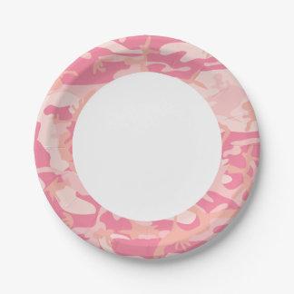 Camuflagem cor-de-rosa. Camo seu Prato De Papel