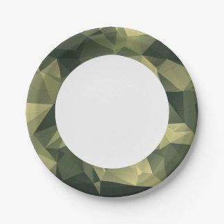 Camuflagem geométrica verde. Camo seu Prato De Papel