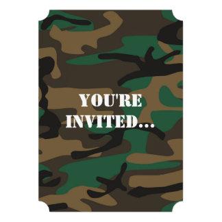 Camuflagem militar verde de Brown Camo Convites Personalizado