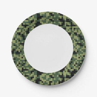 Camuflagem verde. Camo seu Prato De Papel