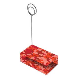 Camuflagem vermelha suporte para cartoes de mesa