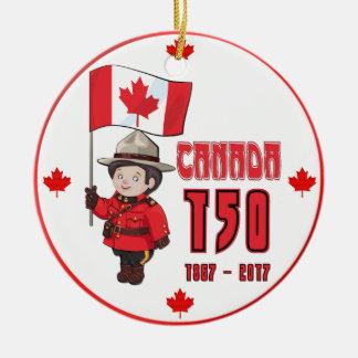 Canadá 150 anos de aniversário ornamento de cerâmica redondo