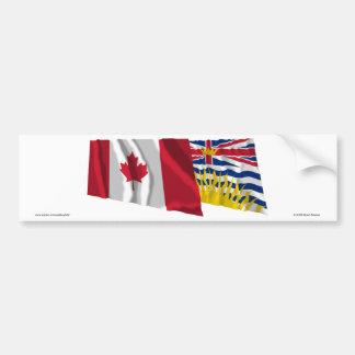 Canadá & Columbia Britânica que acenam bandeiras Adesivo
