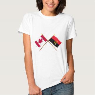 Canadá e bandeiras cruzadas Angola Camiseta