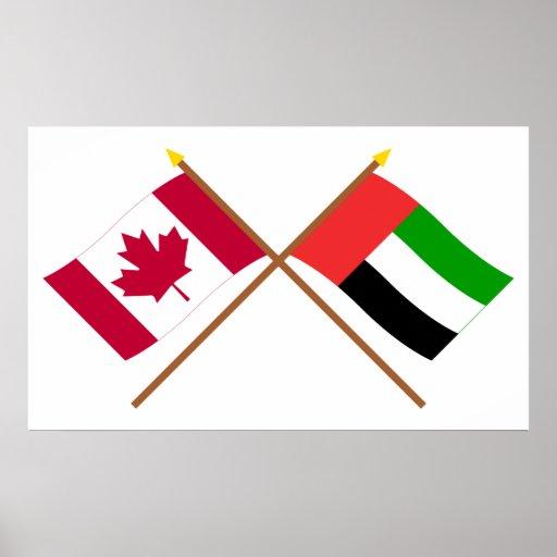 Canadá e bandeiras cruzadas United Arab Emirates Posteres