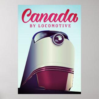 Canadá pelo poster locomotivo do trem dos anos 50
