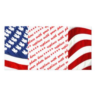 Canadense/bandeira de ondulação americana cartão com foto