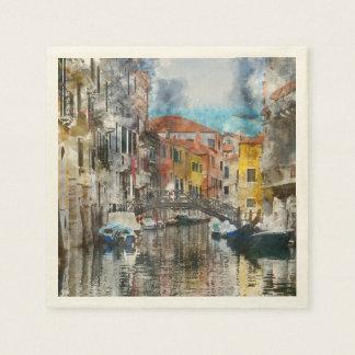 Canais da aguarela de Veneza Italia Guardanapo De Papel