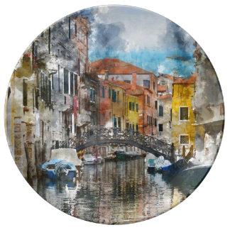 Canais da aguarela de Veneza Italia Louça
