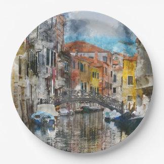 Canais da aguarela de Veneza Italia Prato De Papel