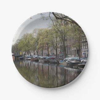 Canais em Amsterdão, Holland Prato De Papel