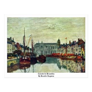 Canais em Bruxelas por Boudin Eugène Cartoes Postais