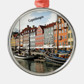 Canal cénico em Copenhaga Ornamento Redondo Cor Prata