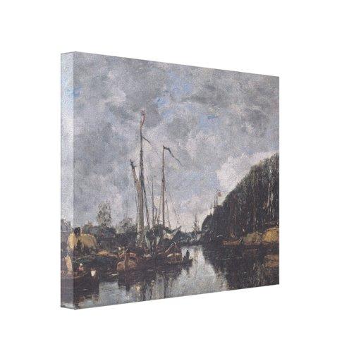 Canal de Eugene Boudin- em Allèe Verte em Bruxelas Impressão De Canvas Envolvidas