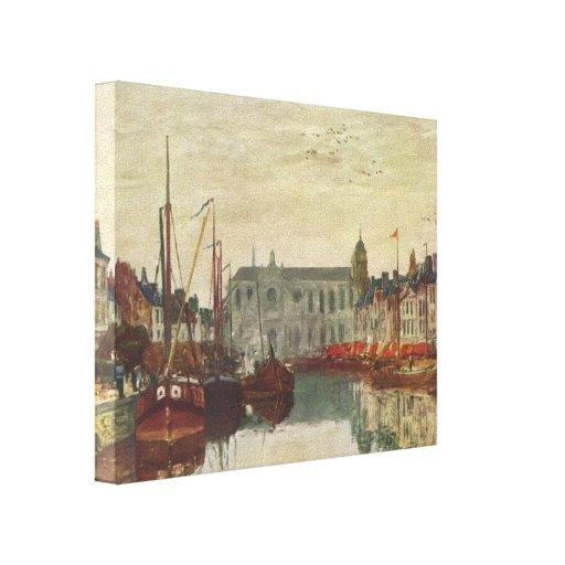 Canal de Eugene Boudin- em Bruxelas Impressão Em Canvas