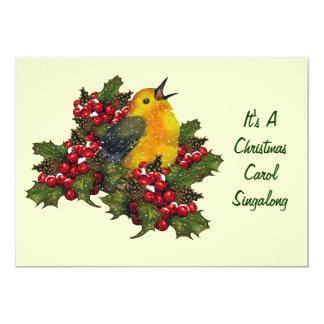 Canção de natal Singalong do Natal: Pássaro, Convites Personalizado