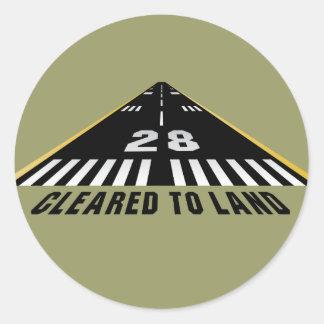 Cancelado para aterrar a pista de decolagem adesivo redondo