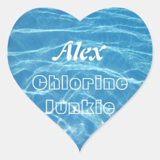 Cancele a natação aquática azul legal da água da adesivo coração