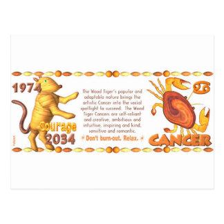 Cancer nascido 1974 do tigre de madeira do zodíaco cartão postal