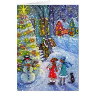 Canções de natal para o boneco de neve cartão de nota