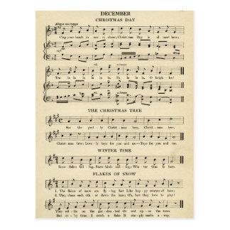 Canções incomuns da folha de música do natal cartão postal