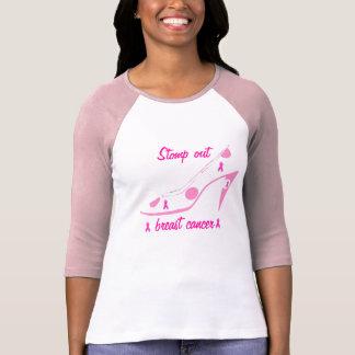 Cancro da mama cor-de-rosa do salto alto da fita camiseta